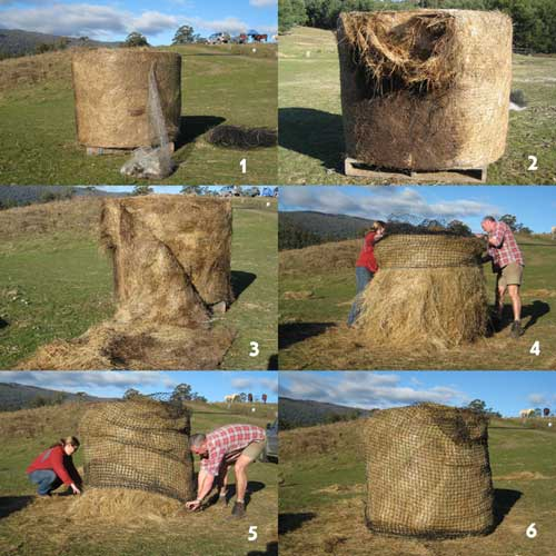 The best way to put a round bale Haysaver net on.