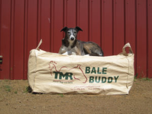 The Bale Buddy Bag holds an oversize straw bale (and Tigga!).